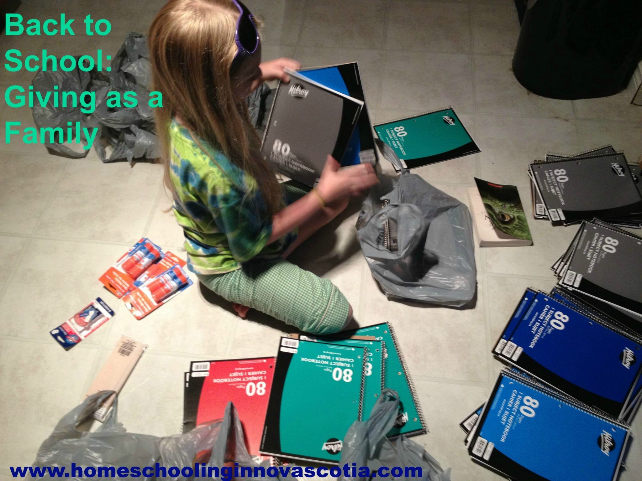 My daughter organizing supplies for charity