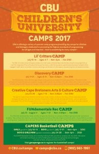 2017 cape Breton summer camps